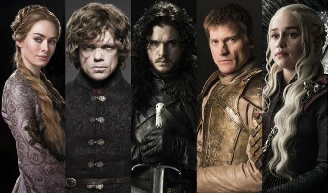Jon Nieve, Aria Stark, Daenerys, Jamie Lanister y Tyron Lanister