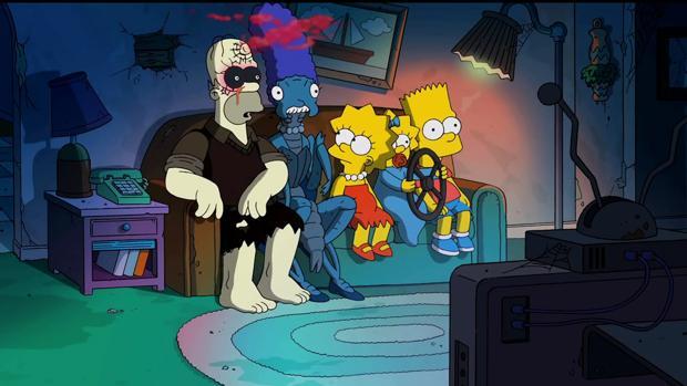 Protagonistas de los Simpsons fotos de la familia halloween