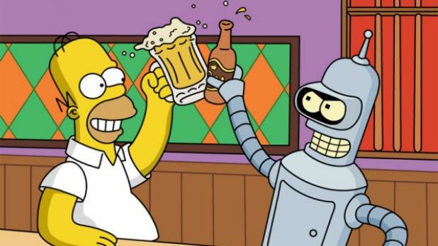 Los Simpsons fotos de Bender y Homer