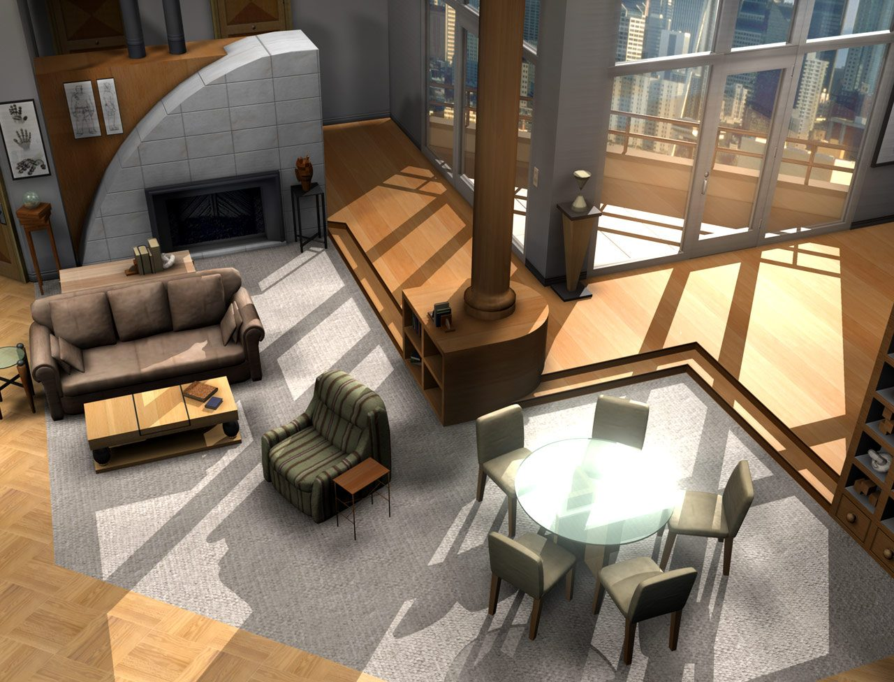 infografía apartamento de Frasier