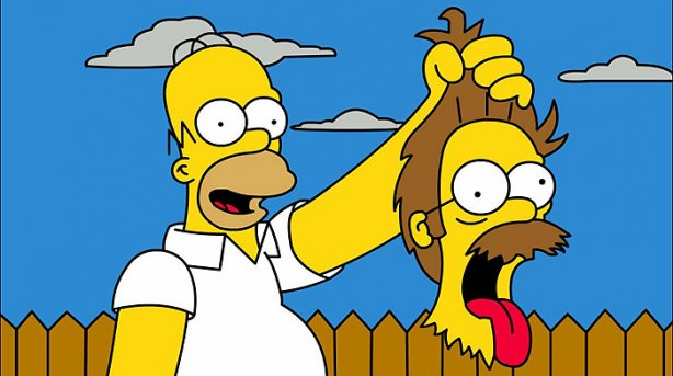Fotos de Homer SImpson, cabeza cortada de Flanders