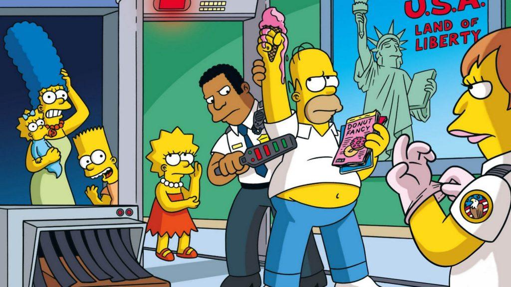 Escenas de Homer Simpson, cacheado en el aeropuerto