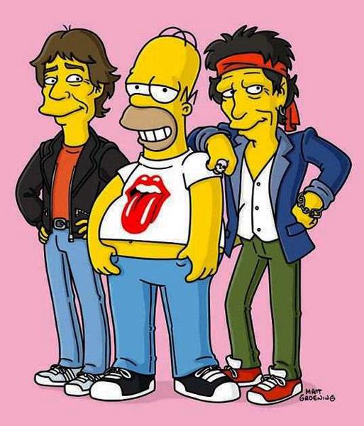 Fotos de Homer Simpson, cameo con los Rolling Stones