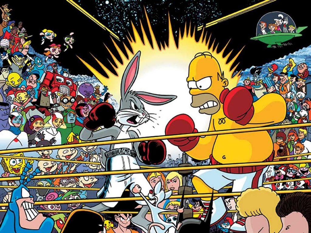 Mejores momentos de Homer Simpson, foto luchando con Bugs Bunny