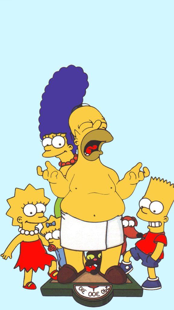 Imagen de Homer Simpson con la familia en calzoncillos