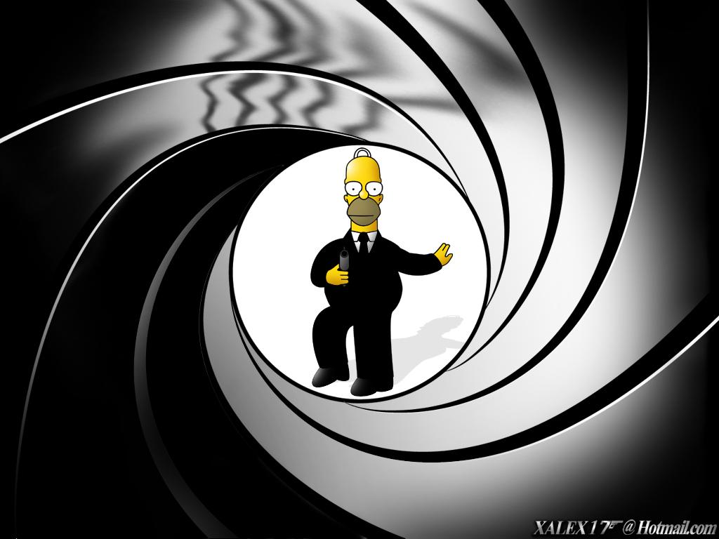 Imágenes de Homer SImpson, en el papel de James Bond