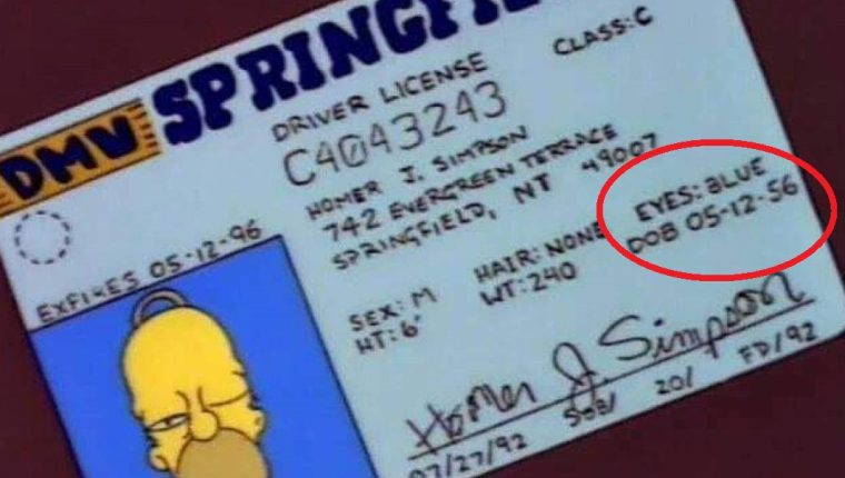 edad de homer simpson, licencia de conducir