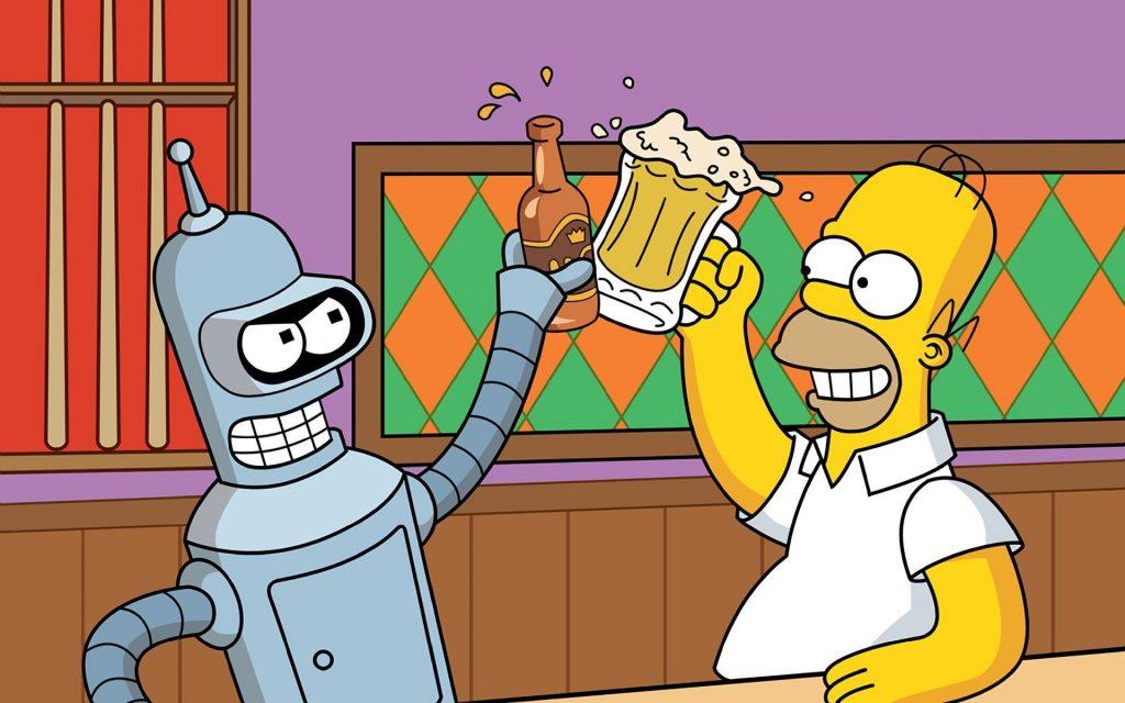 Cameo de Homer SImpson con Bender brindando