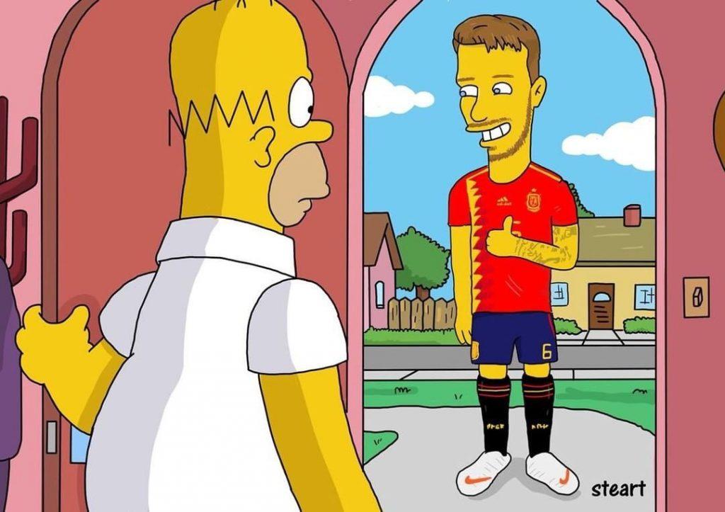 Imagen de Homer Simpson y la selección española de fútbol