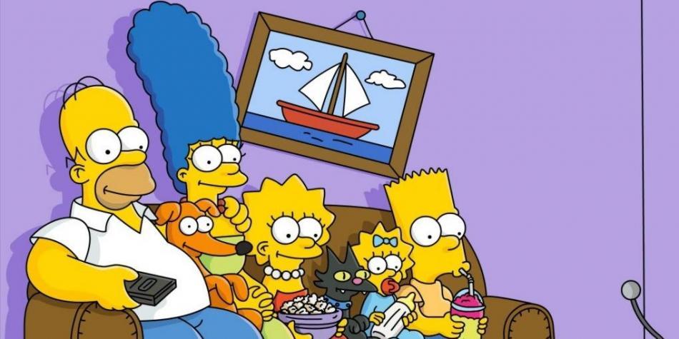 familia Simpson viendo la tv