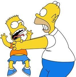 Homer estrangula a Bart