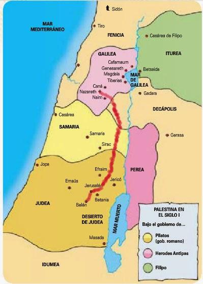 Mapa de Judea y Galilea, Belén y Nazaret