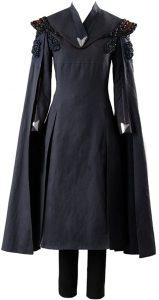 Cosplay Daenerys Targaryen Disfraz Manga Larga Negra con Vestido de Capa Conjunto Completo