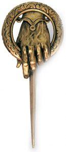 Game Of Thrones Juego de Tronos Mano del Rey Unisex broche Dorado, Aleación de Zinc