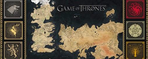 mapa y escudos de Juego de Tronos