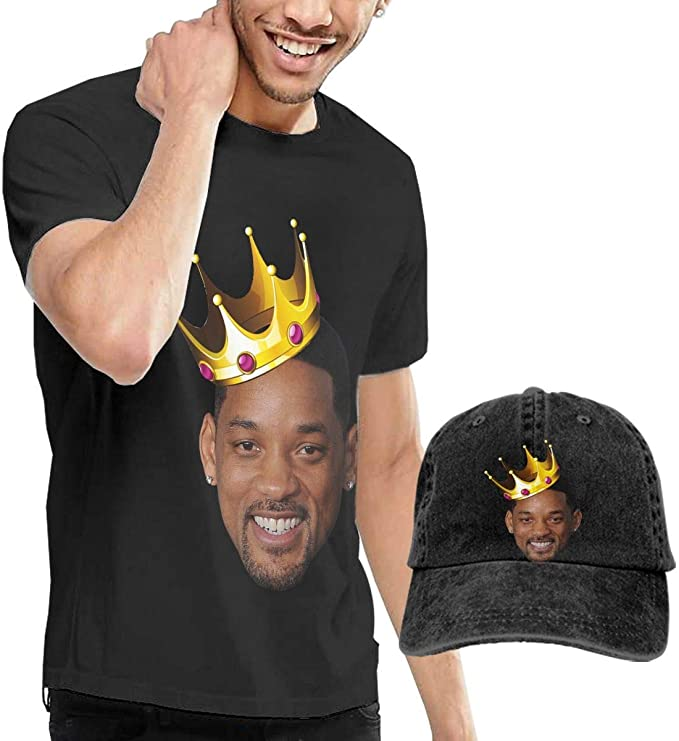 Camiseta negra Will Smith rey y gorra de regalo
