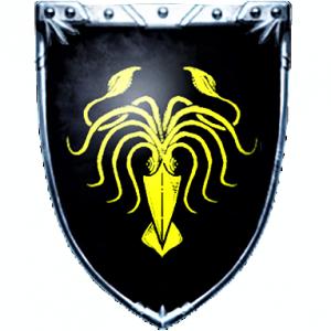 Escudo blasón de la Casa Greyjoy, personajes de Juego de Tronos