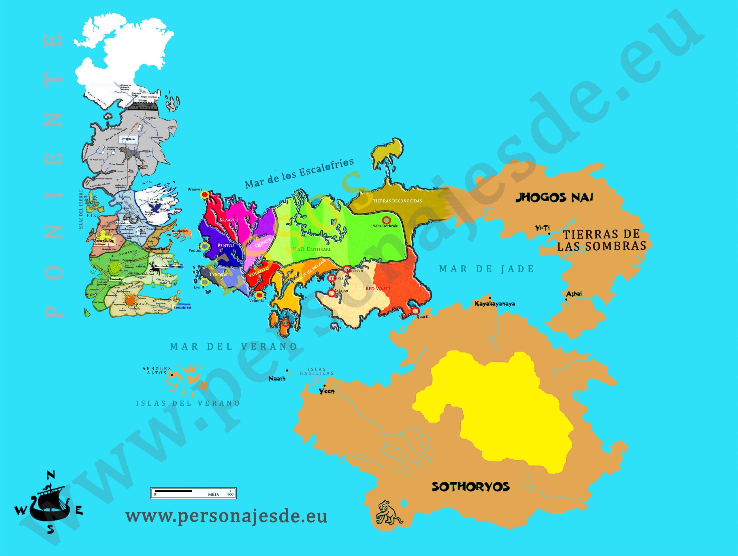 Mapa completo del mundo de Juego de Tronos en Español