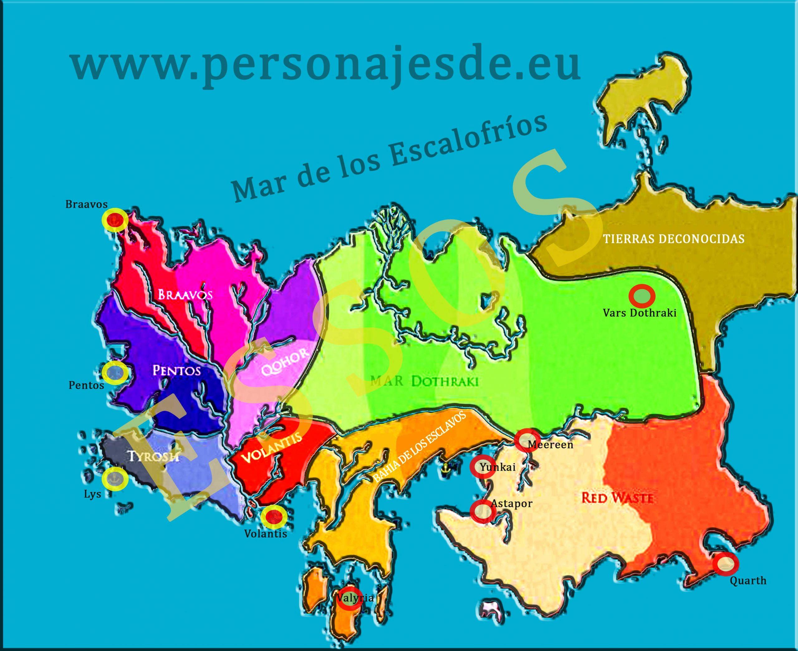 Mapa de Juego de Tronos en español del Continente de Essos completo