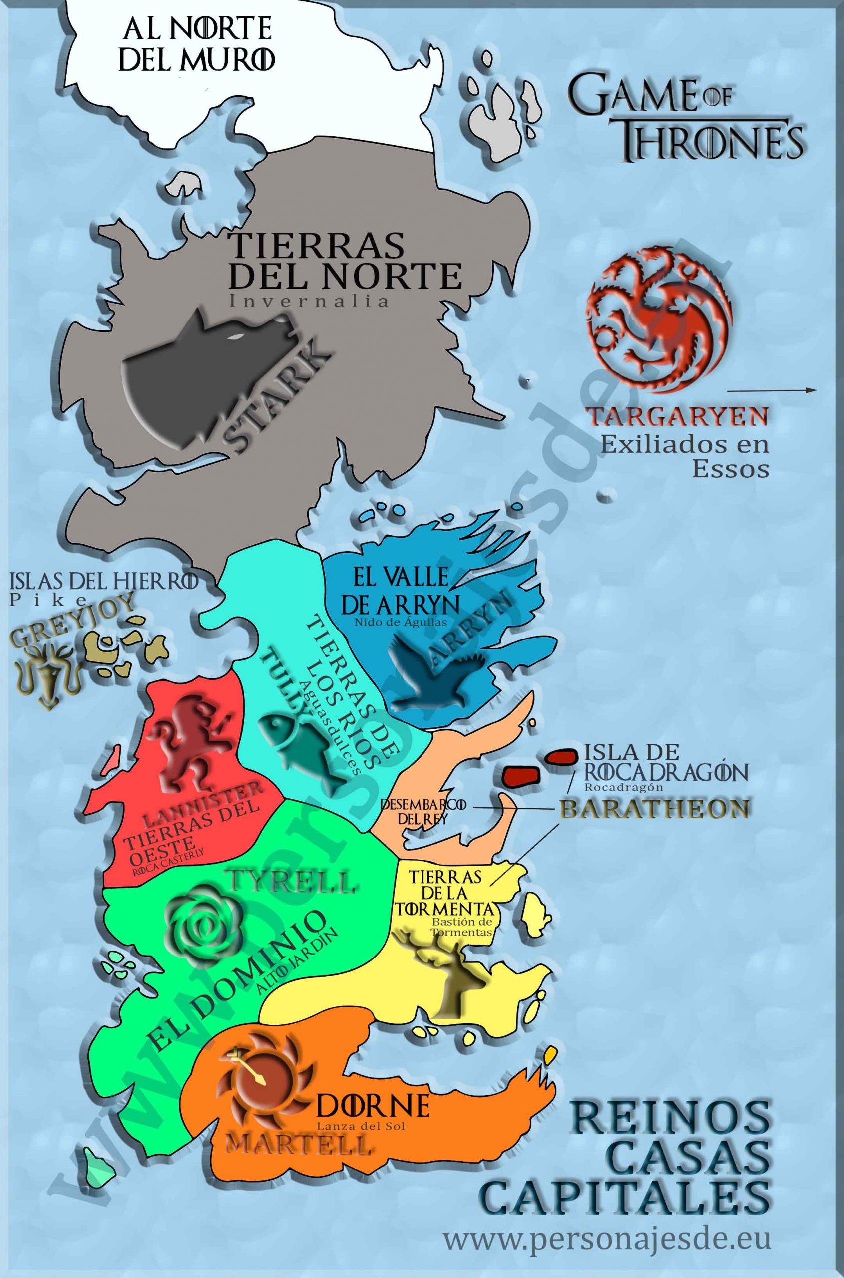 Mapa de los reinos y casas de Juego de Tronos