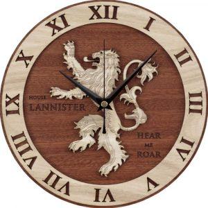 Reloj De Pared Diseño Casa Lannister Madera Relojes Cuarzo 3D
